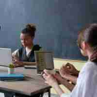 Middle school students learning in a trauma-informed classroom