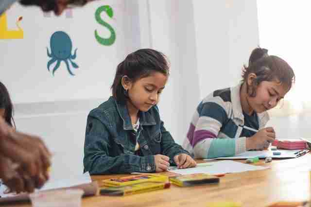 Two girls participating in a classroom activity for emotional management